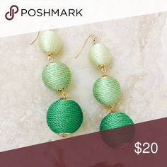 """Silk Les Bonbon Crispin Drops The talk of the town, these stunning earrings are extremely stylish, 3 wrapped silk Drops of an green color scheme. 3"""", Not to be missed Jewelry Earrings"""