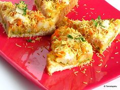 Bread Sev: Ingredients Bread Slices 4 Tamarind-Date Chutney as needed… Veg Recipes, Indian Food Recipes, Snack Recipes, Cooking Recipes, Dinner Recipes, Quick Snacks, Yummy Snacks, White Sauce Recipes, Chaat Recipe