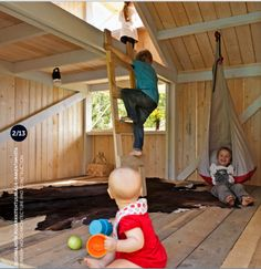 Cabane enfants Anna and Eugeni Bach, Wood Playhouse with Finnish construction, children playing, Remodelista Kids Outdoor Play, Outdoor Play Spaces, Outdoor Fun, Backyard Playhouse, Build A Playhouse, Playhouse Interior, Kids Playhouse Plans, Modern Playhouse, Backyard Fort
