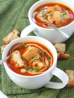 """This flavorful vegan roasted red pepper soup is made with ripe summer red bell peppers, lots of paprika and is topped with creamy tahini sauce and crispy broiled garlic bread croutons. "" Submitted by connoisseurusveg, thank you! Roasted Red Pepper Soup, Roasted Red Peppers, Soup Recipes, Vegetarian Recipes, Healthy Recipes, Healthy Food, Recipies, Yummy Food, Tasty"