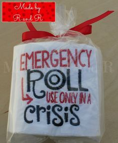 "Paper Embroidery Emergency Roll Use Only In A Crisis Embroidered Toilet Paper - This funny embroidered toilet paper featuring the saying ""Emergency Roll Use Only In A Crisis"" will make the perfect funny decor for your bathroom. Gag Gifts Christmas, Christmas Humor, Christmas Crafts, Santa Gifts, Christmas Games, Christmas Holiday, Holiday Fun, Holiday Gifts, Christmas Ornaments"
