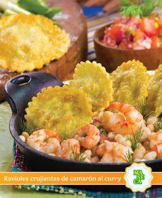La fusión llegará a tu cocina con estos deliciosos ravioles crujientes de camarón al curry.  #Receta #TodoConMaseca #Fusion #Shrimp