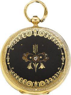 Swiss 18k Gold & Enamel Key Wind, circa 1860. Case: 18k yellow