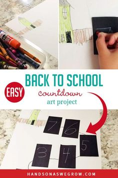 Get your kids excited about school with this cute back to school countdown art project! Count down the days to school in a creative style! Enjoy. Back To School Art, Back To School Crafts, Back To School Hacks, Easy Art Projects, School Art Projects, Projects For Kids, Outdoor Activities For Kids, Hands On Activities, Toddler Activities