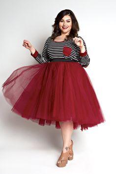 Plus Size Clothing for Women - Loey Lane High/Low Premium Tutu - Burgundy (Sizes 1X - 6X) - Society+ - Society Plus - Buy Online Now!