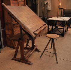 ancienne Table d'architecte réglable 1900 - Le Grenier