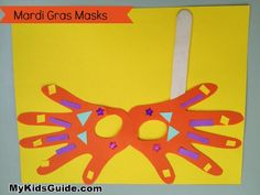 Mardi Gras Craft Madness: DIY Handprint Mardi Gras Mask for Kids - Mardi Gras Craft Projects For Kids, Easy Crafts For Kids, Diy For Kids, Children Crafts, Toddler Crafts, Winter Activities For Kids, Spring Activities, Art Activities, Classroom Activities