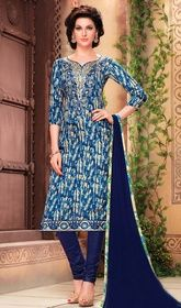 Blue Color Shaded Cotton Churidar Kameez #churidarindiaonline #longchuridarkameez Amass your admirers mesmerized adorned in this blue color shaded cotton churidar kameez. This charming attire is showing some remarkable embroidery done with lace and resham work.  USD $ 69 (Around £ 48 & Euro 52)