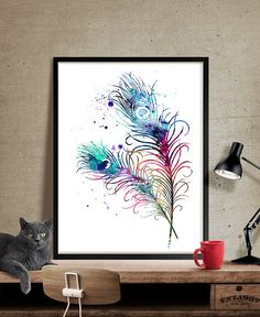 Peacock Feathers Watercolor Art Feather Print by FineArtCenter