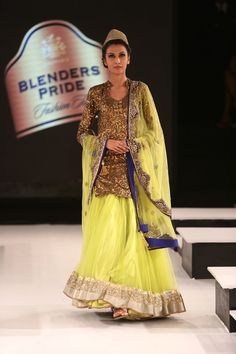 Looking the gold and neon yellow combo of Vikram Phandis