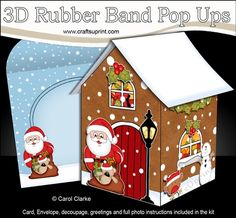 **COMING SOON** -  This lovely Christmas Gingerbread House 3D Rubber Band Pop Up Christmas Card kit will be available here within 12 hours - http://www.craftsuprint.com/carol-clarke/?r=380405
