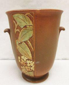 Weller Pottery vase -like the leaf carving