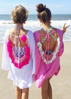 Women Summer Dresses 2017 Sexy Backless Tassels Beach Cover Up Beachwear Woman Beach Dress Sexy Pareo Bikini Covers Beach Tunic Short Beach Dresses, Summer Dresses For Women, Sexy Dresses, Beach Wear For Women Outfits, Summer Outfits, Beach Outfits, Vacation Outfits, Mode Hippie, Bohemian Mode