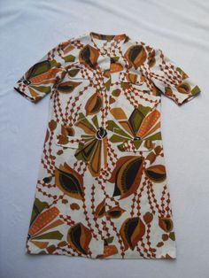 VINTAGE 1960s/70s ABSTRACT PRINT DRESS - MOD / SCOOTER / RETRO