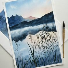 watercolor art I miss the white nights when its possible to work at night with a day light. Watercolor Landscape, Watercolour Painting, Painting & Drawing, Watercolors, Landscape Paintings, Landscape Sketch, Landscape Art, Watercolor Trees, Landscape Lighting