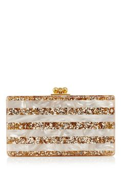 Pearlescent jean striped clutch with confetti stripes by EDIE PARKER Now Available on Moda Operandi