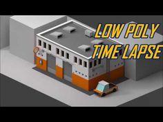Low poly Car Garage - Blender Time Lapse