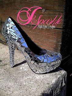 Mirror glass heels. These pumps look like disco balls!