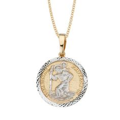 "14k Two Tone Gold Diamond Cut Saint Christopher Medal Necklace, 18"" Amazon Curated Collection. $257.00. Made in United States"