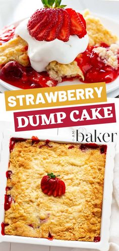 Strawberry Dump Cake An easy dessert recipe with few ingredients that is definitely an easy de Dessert Simple, Easy Impressive Dessert, Bon Dessert, Easy Strawberry Desserts, Strawberry Cakes, Strawberry Pie Filling Cake Mix Recipe, Strawberry Shortcake, Strawberry Cobbler, Cake Mix Desserts