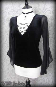 Romantic Gothic Black Velvet Lace Up Angel Wing Top 12 Victorian Vampire Maiden | THE WILTED ROSE GARDEN
