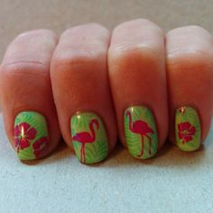 Flamingo nails. China Glaze Be More Pacific, Too Yacht To Handle, Treble Maker, Orly Risky Behavior, MoYou London Tropical Collection stamping plates.