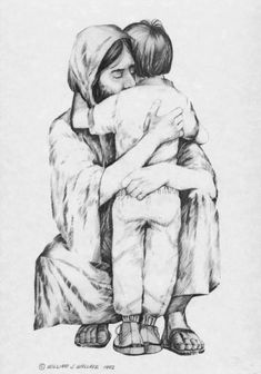 Jesus Hugging Boy - but it doesn't matter if you are a boy or girl :) Images Of Christ, Pictures Of Christ, Jesus Sketch, Jesus Drawings, Religion Catolica, Jesus Painting, Prophetic Art, Jesus Is Lord, Christian Art
