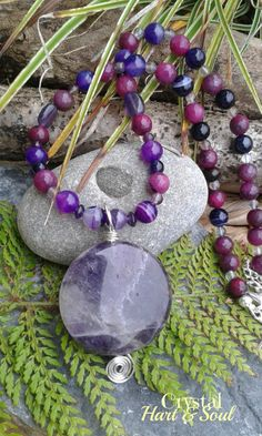 Purple Queen gemstone necklace, Amethyst, faceted gemstones, Bohomian jewellery…