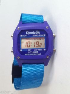 VTG-Reebok-Watch-Turquoise-Teal-Cloth-Band-And-Purple-Digital-Unisex-Watch-RARE