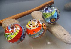 Marble beads with satellites | Focals