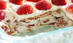 Il se mérite officiellement le prix COUP DE COEUR des desserts sans cuisson... Le gâteau Graham et fraises