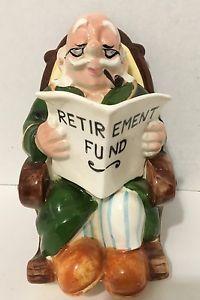 Vintage 50s LEFTON Old Man Grandpa in Rocker RETIREMENT FUND BANK 4266 EUC Old Men, Banks, Retirement, Christmas Ornaments, Holiday Decor, Vintage, Christmas Jewelry, Retirement Age, Vintage Comics