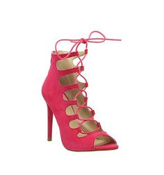 Office Parisian Lace Up Ghillie Sandal Bright Pink Suede - High Heels #sandals #women #covetme
