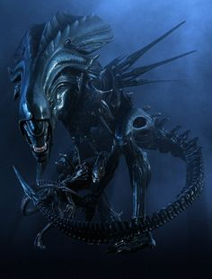 My all time favorite sci-fi movie monster: The queen xenomorph from Aliens! Notice the xenomorph warrior at her feet, pretty awesome too!