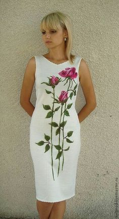 Off the Shoulder Flower Print Ruffle Hem White Dress Dress Painting, T Shirt Painting, Hand Painted Dress, Painted Clothes, Embroidery Fashion, Embroidery Dress, Floral Fashion, Fashion Dresses, Fabric Paint Designs