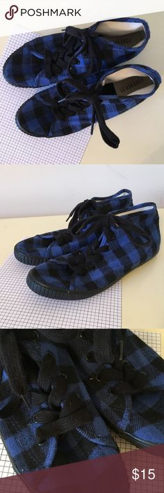 Blue and black plaid sneakers - women's 8 Unique, and comfy high top sneakers from forever 21. Only worn a couple of times. Forever 21 Shoes Sneakers