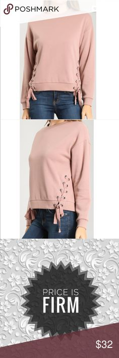Mauve Pullover Sweater Mauve Pullover Sweater with lace Up sides. Runs true to size Sweaters Crew & Scoop Necks