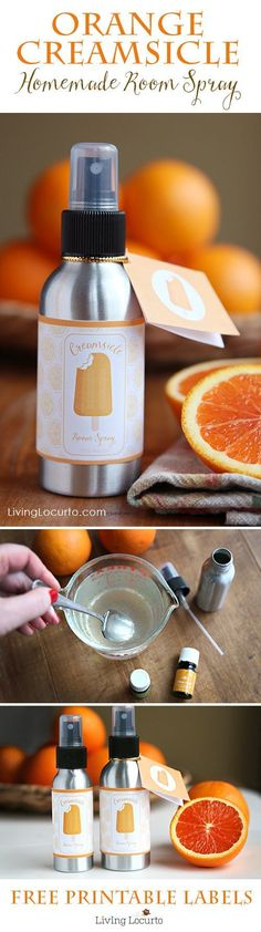 Orange Creamsicle Room Spray! An easy DIY Gift Idea with Essential Oils and Free Printable Labels. Great teacher gift, birthday gift or party favor! http://LivingLocurto.com