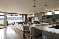 Contemporary Mercer Island lake house infused with Asian touches