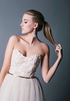 lace applique bodice with chiffon skirt, accented with a thin copper belt