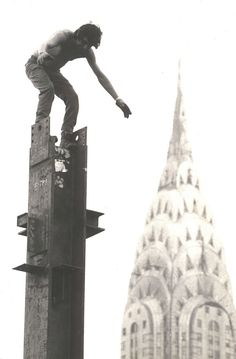 Mohawk Native American Standing On A Column Of The Empire State Building ( Mad Or Brave, You Decide?)