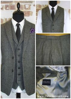 Subtle grey on grey cloth 3 piece suit, with 2 button jacket, slant cuff buttonholes (working), charcoal horn buttons, alternating front/reverse shot silver lining panels, and personalized embroidery. visit our website for more tweed suits: http://www.tweedaddict.com/