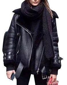New black faux leather shearling warm women aviator coat winter pilot jacket Neues schwarzes Kunstleder, das warme Damen-Pilotenjacke mit Winterpilotenmantel shearling Mode Outfits, Winter Outfits, Casual Outfits, Fashion Outfits, Womens Fashion, Ladies Fashion, Fashion Ideas, Winter Clothes, Black Outfits