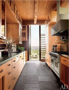 Kitchen with rough cut slate floors