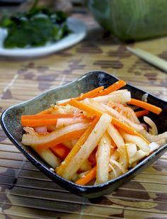 Korean food - pickled carrots and daikon in spicy sesame gochunjang marinade. pickledplum.com food recipes