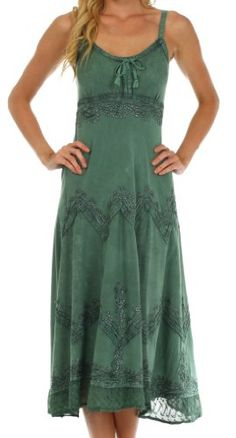AA4012 - Stonewashed Rayon Embroidered Adjustable Spaghetti Straps Long Dress ( Various Colors & Sizes ) - Sage Green L/XL Sakkas,http://www.amazon.com/dp/B00J9SQRI8/ref=cm_sw_r_pi_dp_35istb1XC55J6ZNY