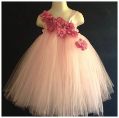 Pink hydrangea tutu dress infant 6M 12M 18M and Toddler 2T 3T 4T Tutu Dress Flower girl Pagent Birthday Photos. $40.00, via Etsy.