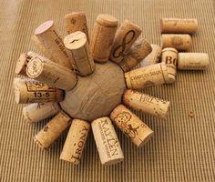 wine cork ball - glue corks