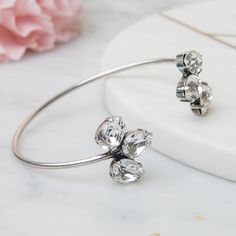 b02217ccd Pear Crystal open bracelet – gift for bride - something new - silver bridal  cuff - swarovski jewellery - stylish bride - vintage style