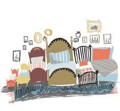 I sovrummet står sängarna på rad och väggarna pryds av fina minnen och bilder på familjen. plingsulli Inga kommentarer